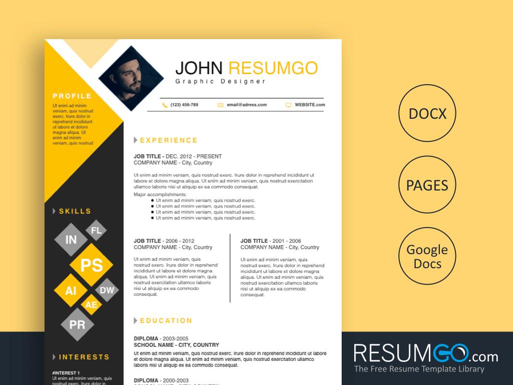 DEIMOS - Free Yellow and Black Squares Resume Template - ResumGO