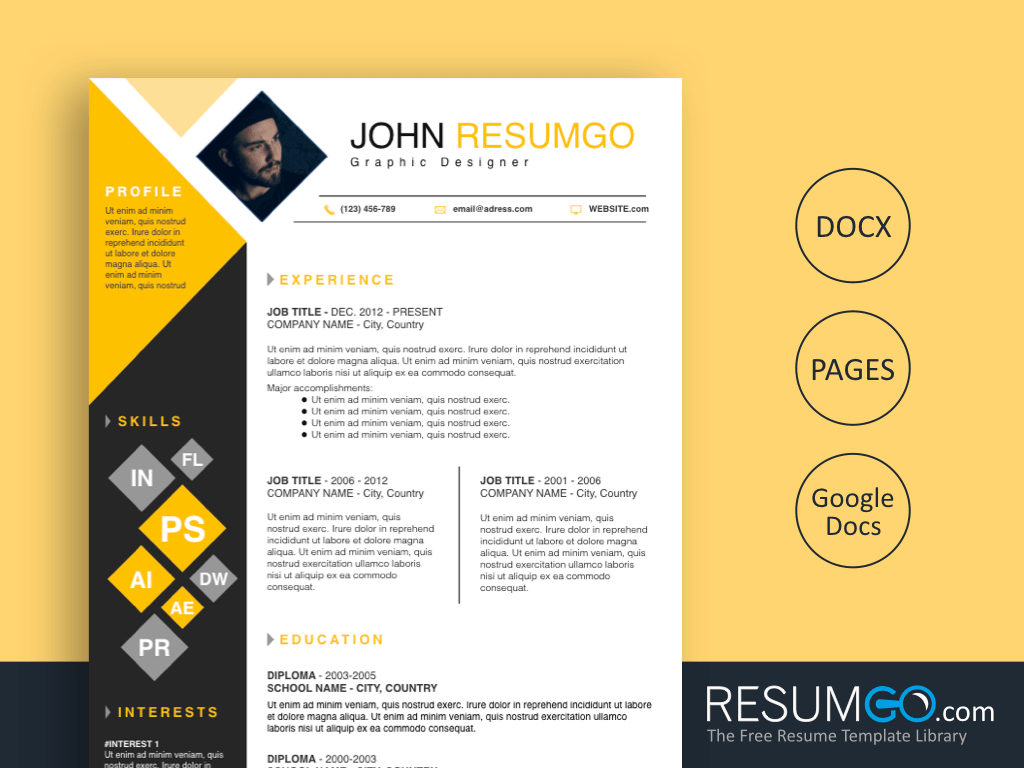 DEIMOS - Free Yellow and Black Squares Resume Template - ResumGO