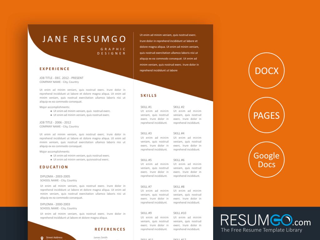 DEMETRA - Free Brown Wavy Resume Template - ResumGO