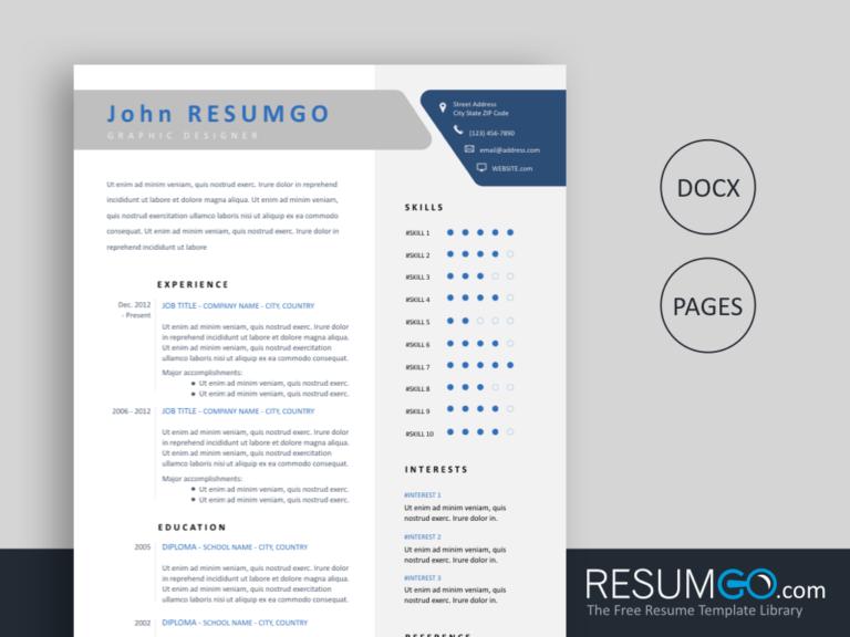 DESMA - Free Flat Resume Template - ResumGO