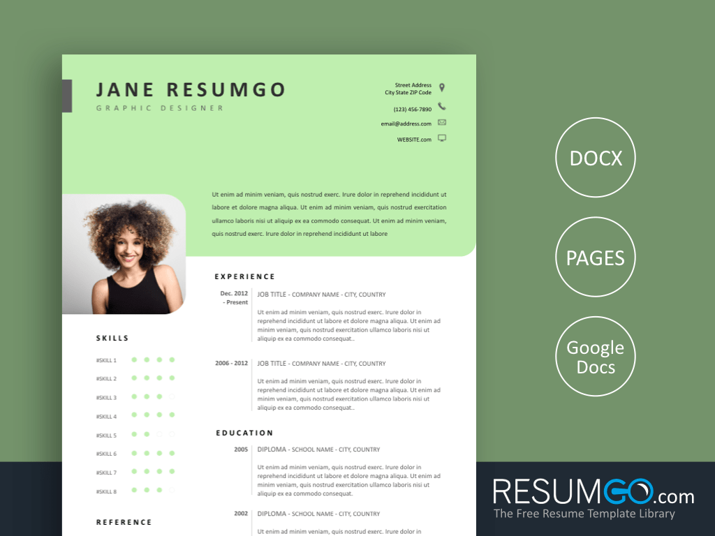 DIANTHA - Free Resume Template with Clean Light Green Header - ResumGO