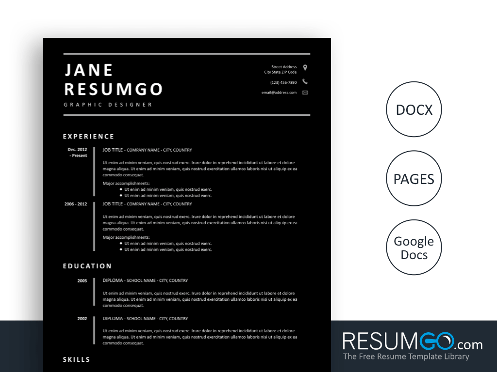 DIONA - Free all Black Resume Template - ResumGO