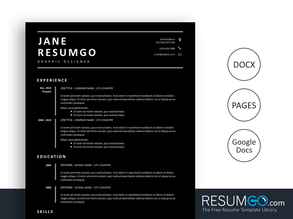 DIONA - Free all Black Resume Template - ResumGO