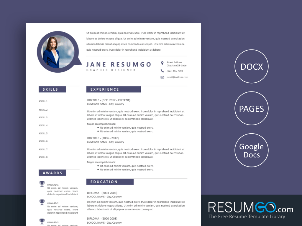 DRAKON - Free Tidy Modern Bubble Speech Resume Template - ResumGO