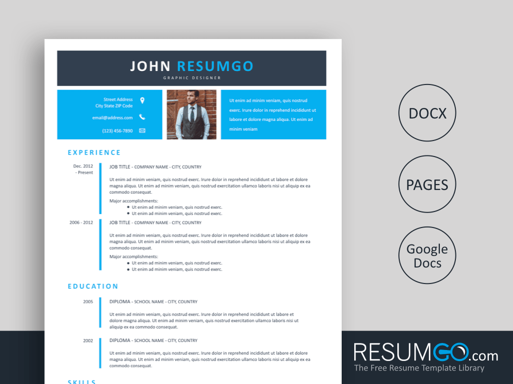 ECHO - Free Two Layer Blue Banner Resume Template - ResumGO