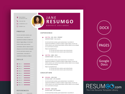 EFIMIA - Free Professional Magenta Ribbon Resume Template - ResumGO