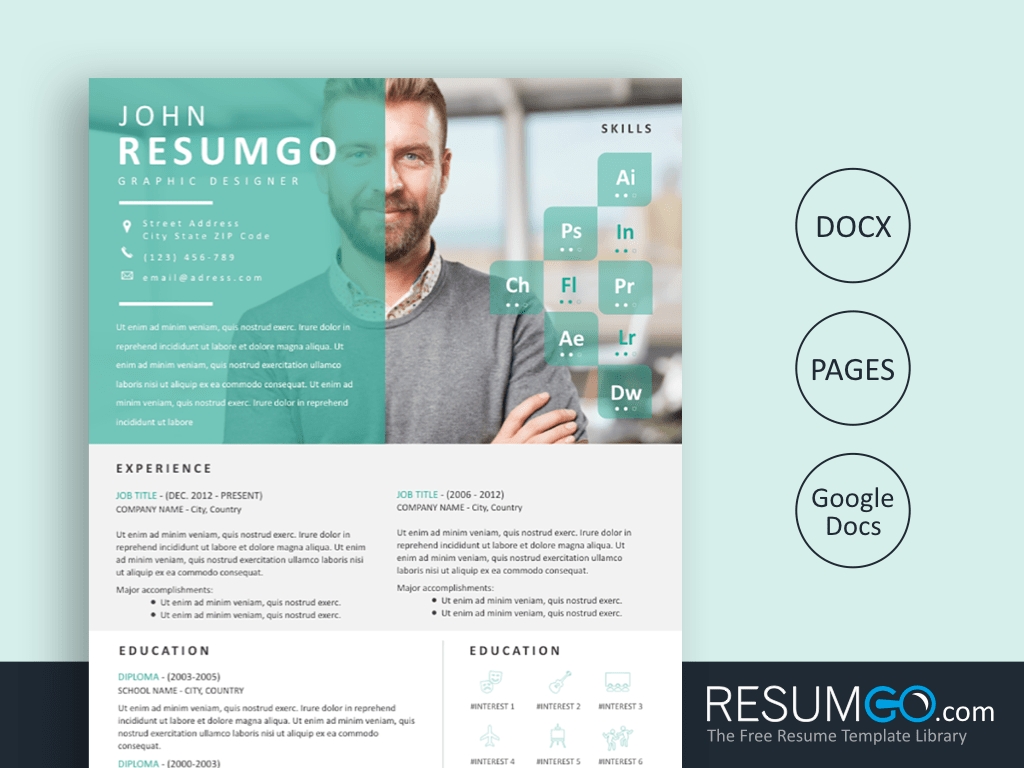 ENVO - Free Modern Eye Catching Resume Template - ResumGO