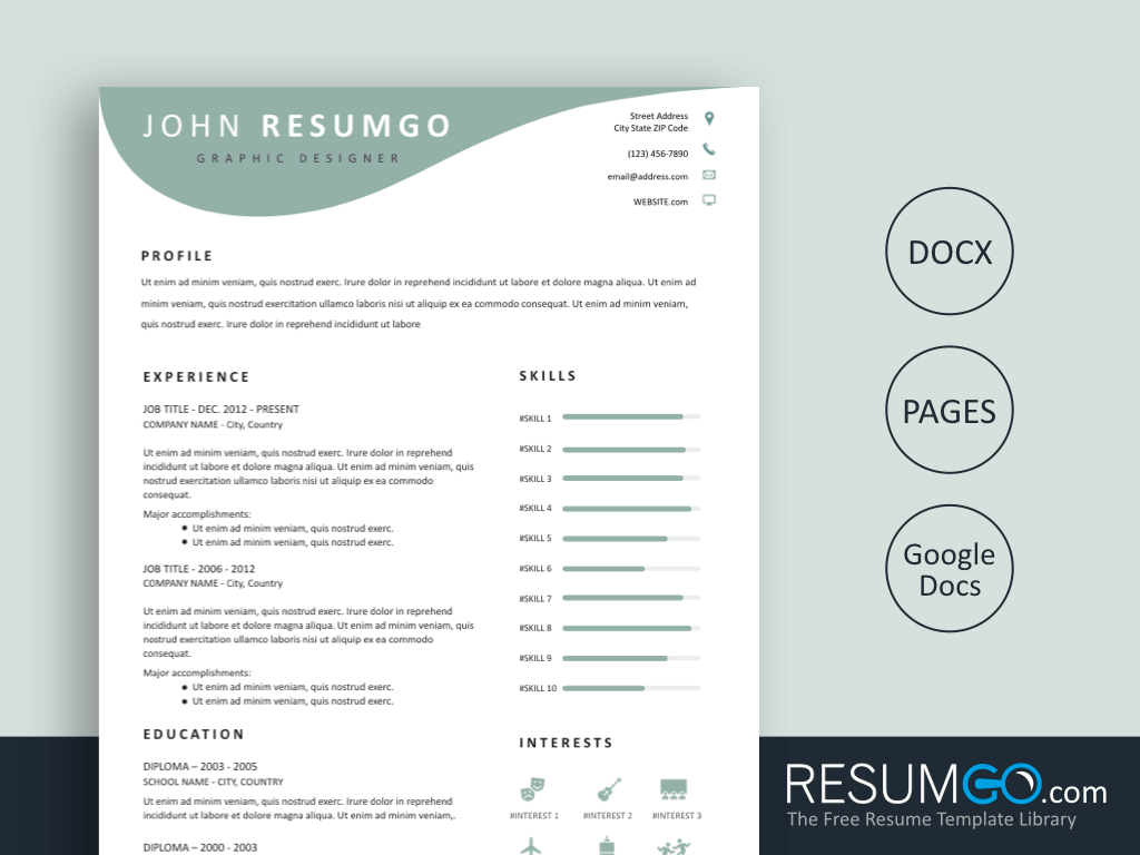 EOS - Free Light Teal Wavy Resume Template - ResumGO