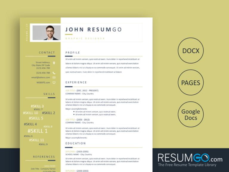 ERATO - Free Golden Sidebar Resume Template - ResumGO