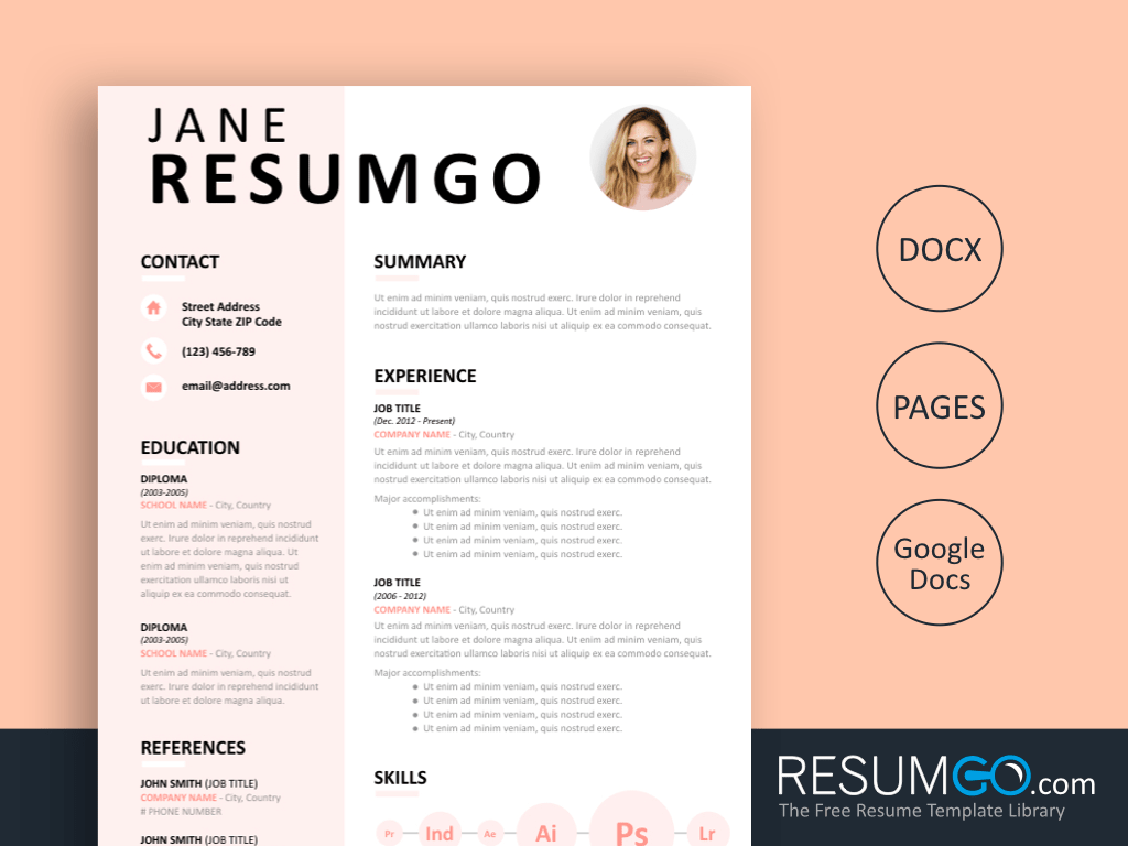 EUDORA - Free Contemporary Resume Template - ResumGO