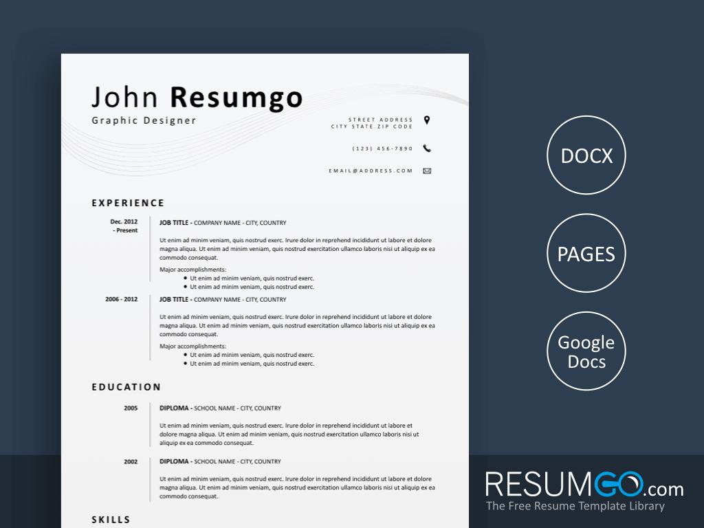 EUMELIA - Free Simple and Clean Resume Template - ResumGO
