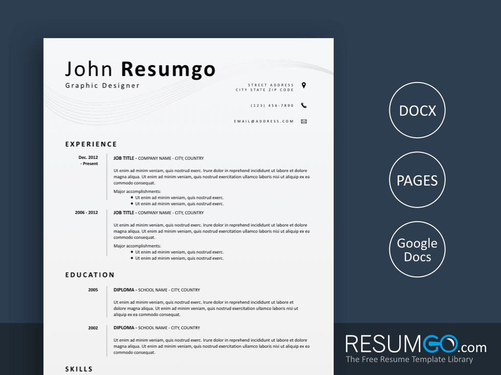 EUMELIA - Free Simple and Clean Resume Template - ResumGO