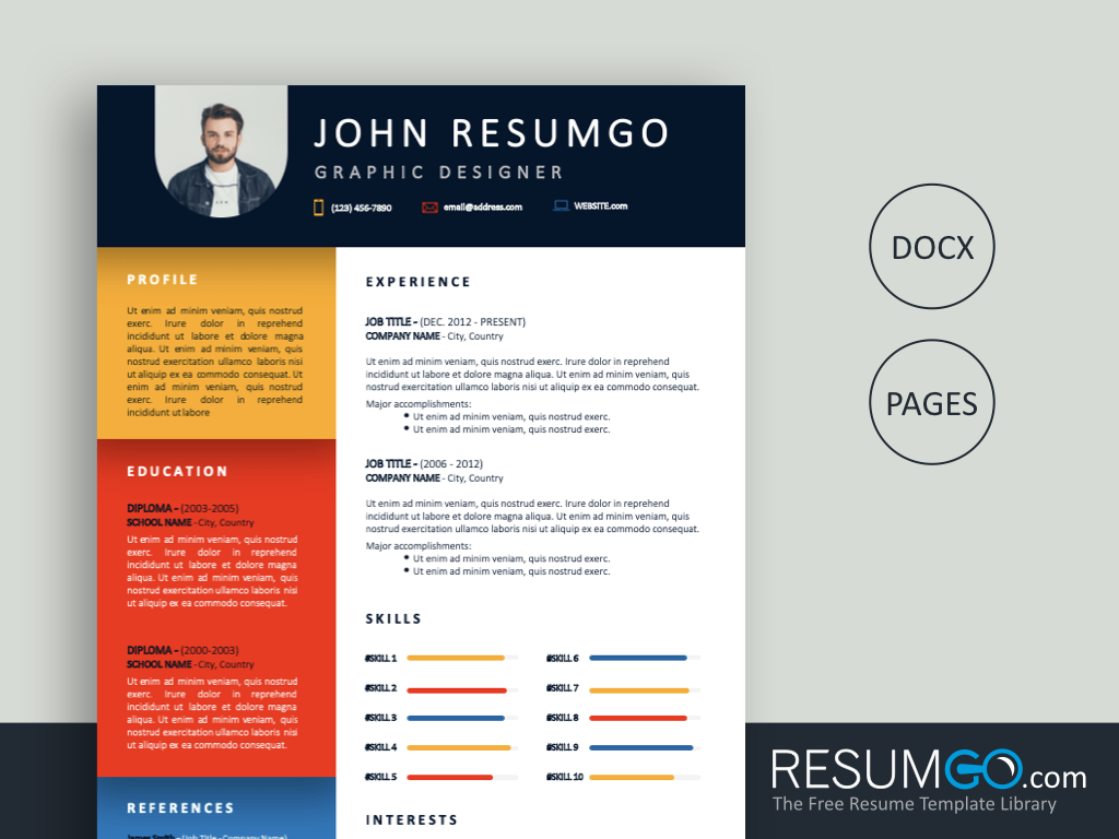 EUNIKE - Free Colourful and Creative Resume - Template-ResumGO