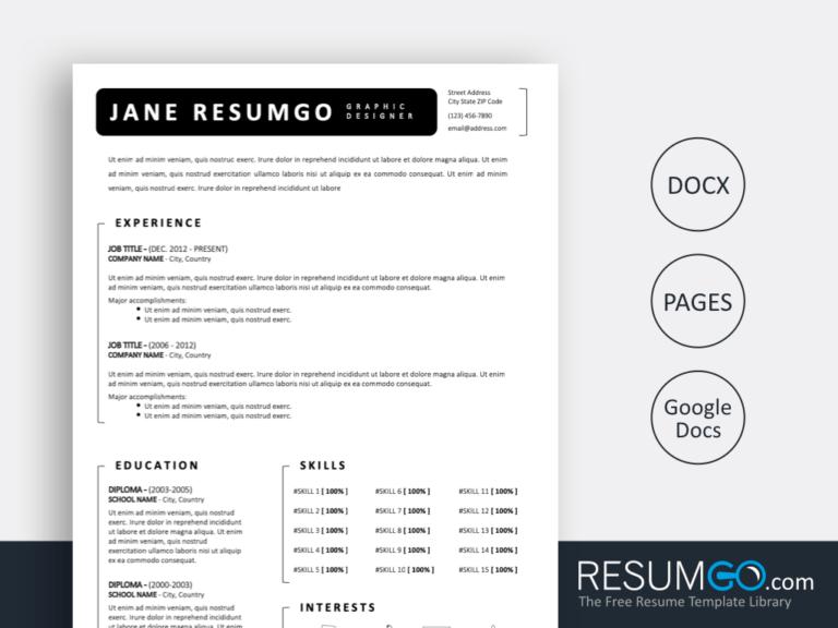 FOTIOS - Free Simple Black White Resume Template - ResumGO