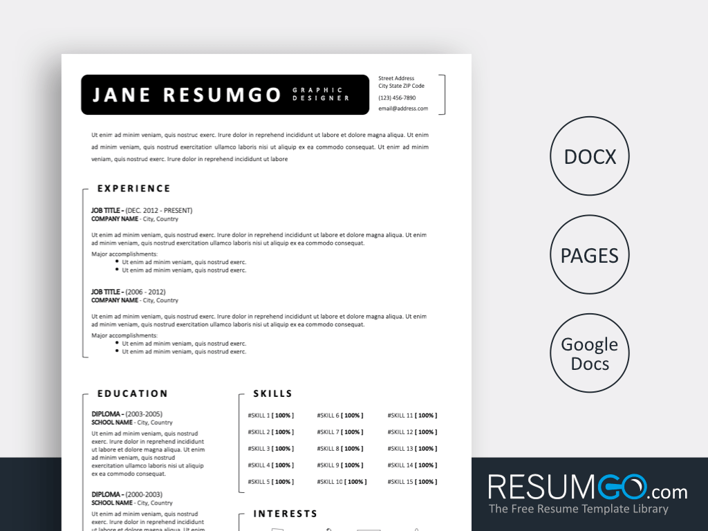 FOTIOS - Free Simple Black White Resume Template - ResumGO