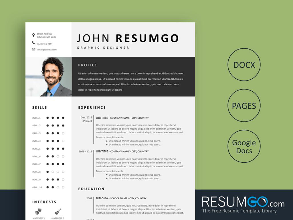 FOTIS - Free Modern and Gray Resume Template - ResumGO