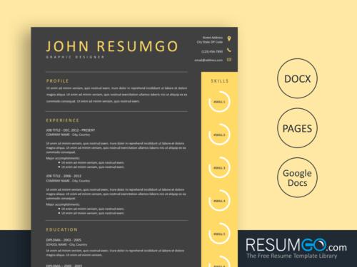 HAIDES - Free Dark gray Yellow Resume Template - ResumGO