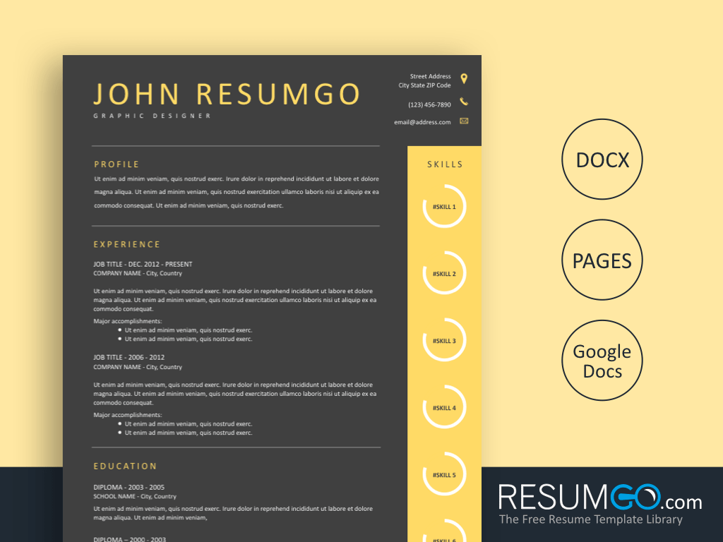 HAIDES - Free Dark gray Yellow Resume Template - ResumGO