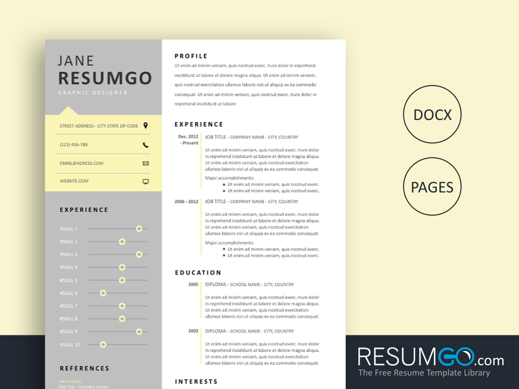 HARMONIA - Free Modern Resume Template Gray and Light Yellow - ResumGO