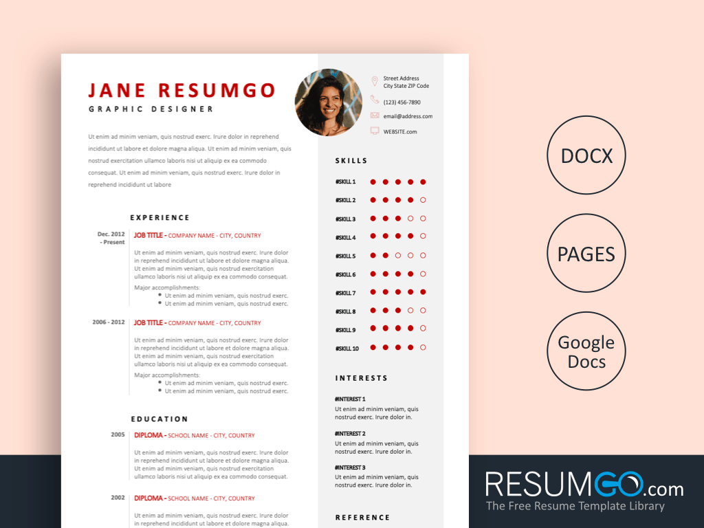 HEKATE - Free Red Contemporary Resume Template - ResumGO