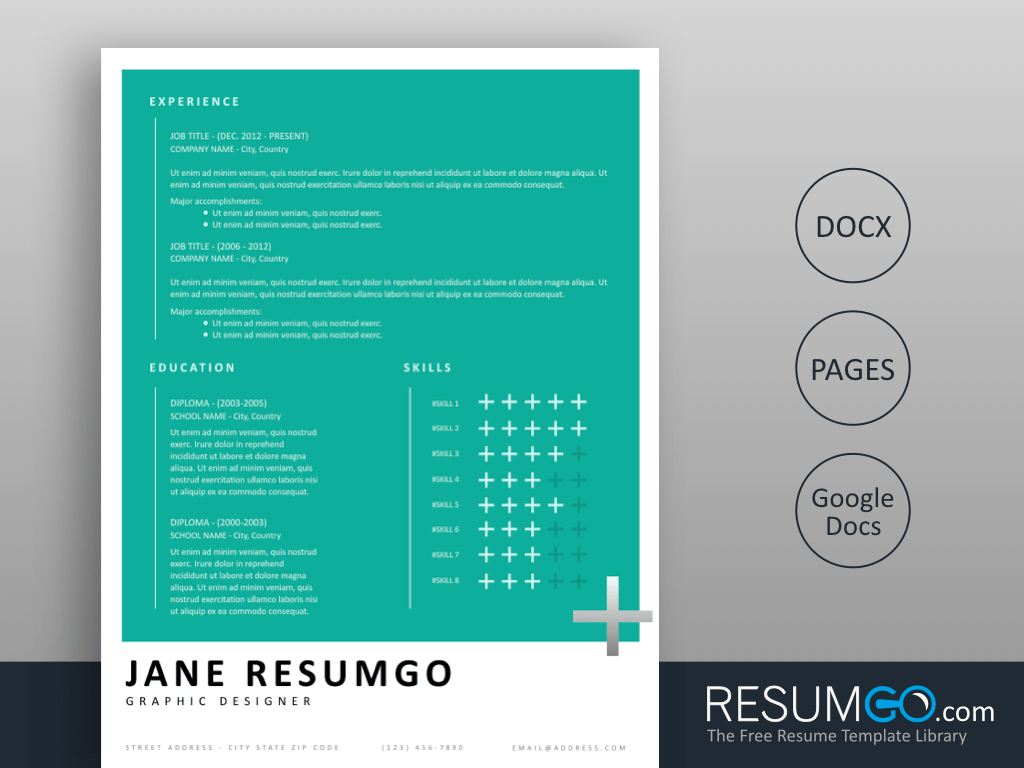 HERMIONE - Free Pantone Style Resume Template - ResumGO