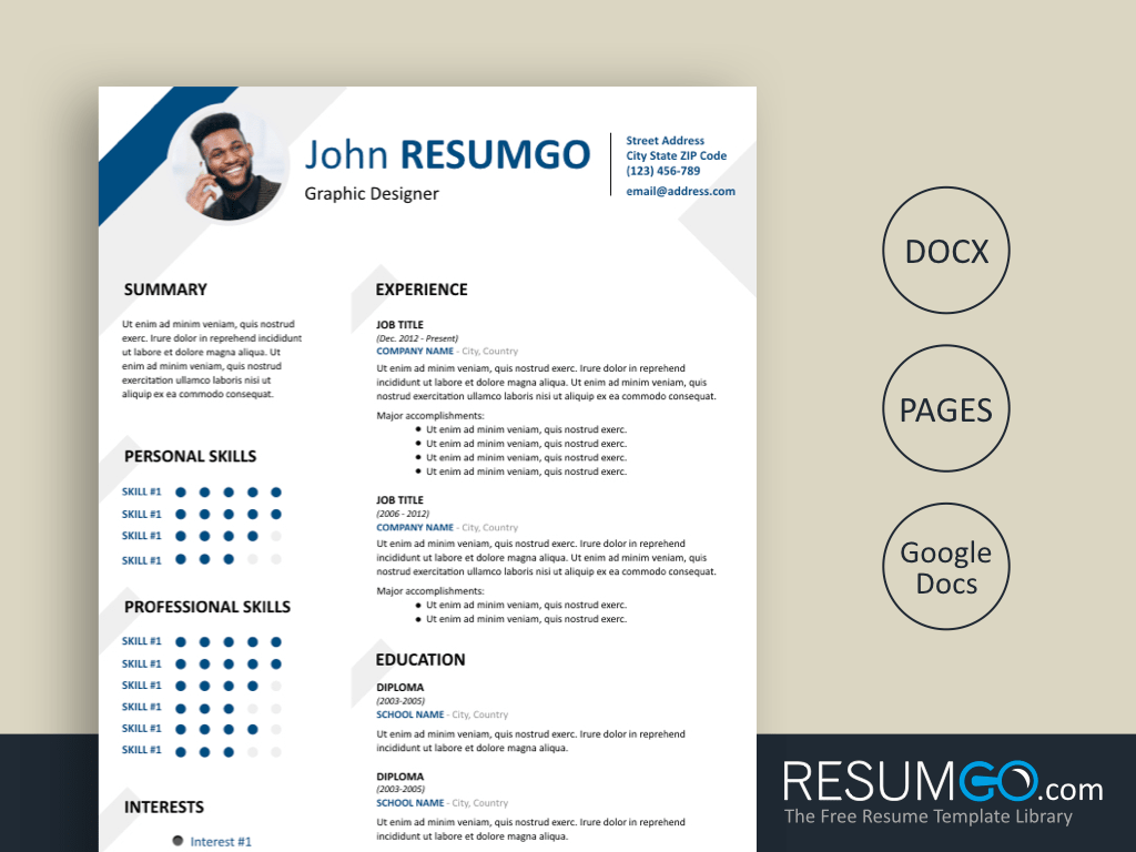 HESIOD - Free Blue and Gray Corners Resume Template - ResumGO