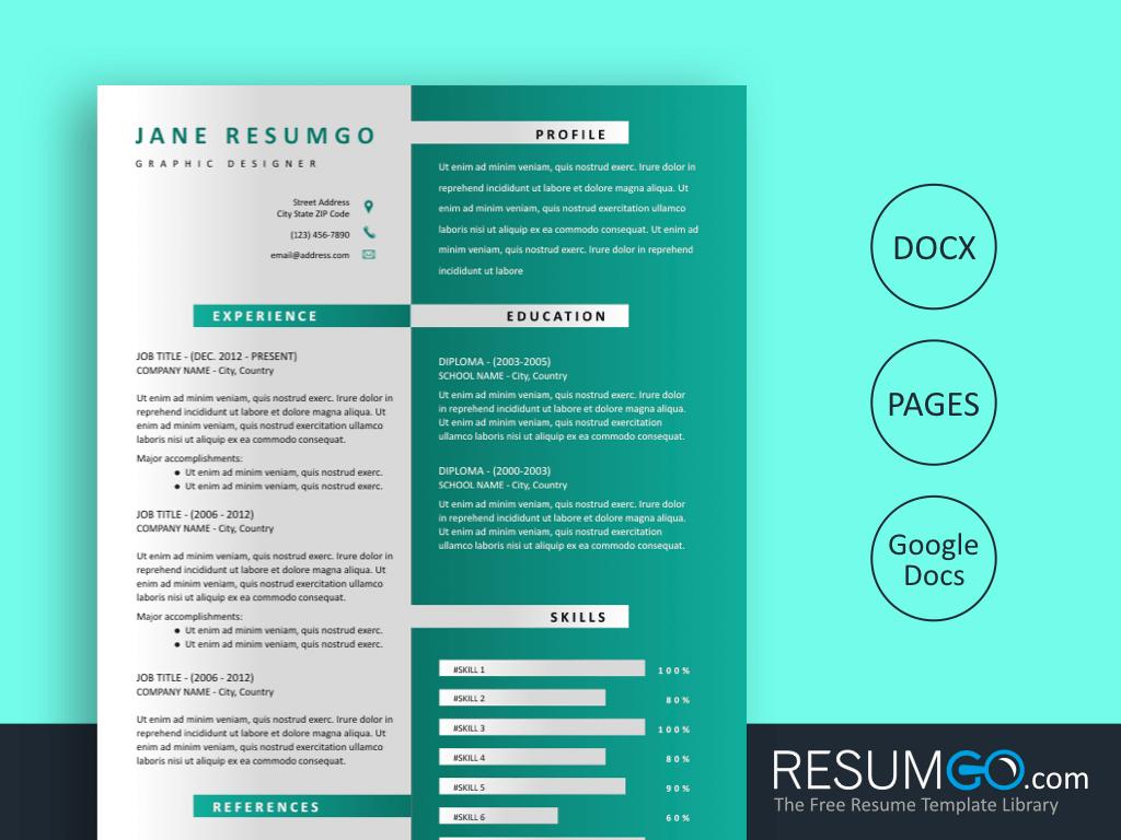 HESTIA - Free 2 Columns Gradient Resume Template - ResumGO