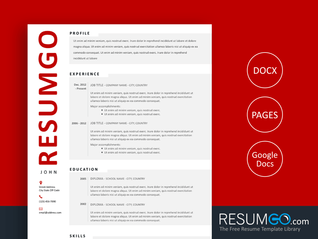 HJARTA - Free Modern Resume Template Gray Blocks - ResumGO