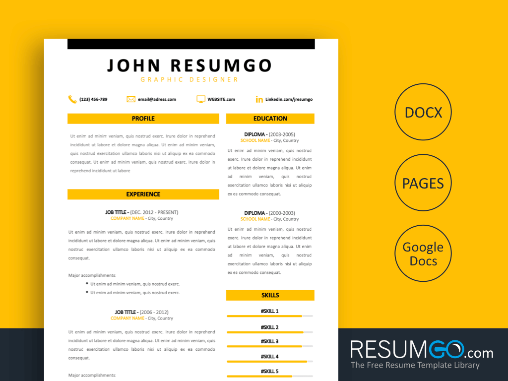 HOMER - Free Yellow Simple Modern Resume Template - ResumGO