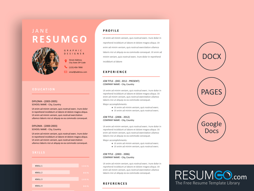 HYPATIA - Free Modern Pink Resume Template - ResumGO