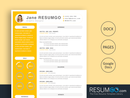 IANTHA - Free Modern Yellow Resume Template - ResumGO