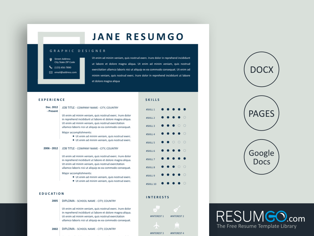IOLE – Blue and Tea Contemporary Resume Template - ResumGO.com