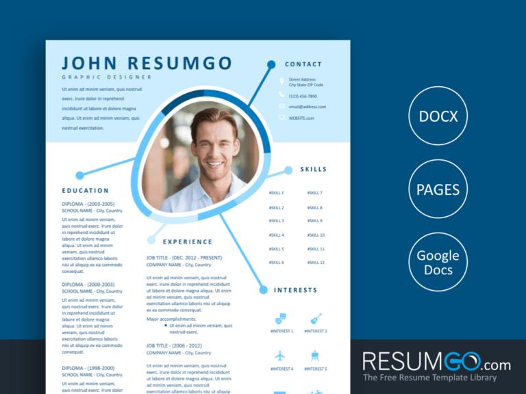 IRIS - Free Blue Creative Resume Template - ResumGO