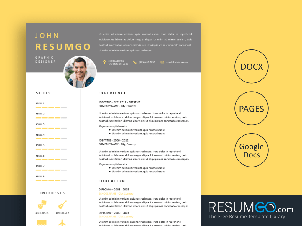 ISOKRATES - Free Gray Header With Yellow Resume Template - ResumGO