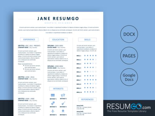 JONAS - Free 3 Column Resume Template - ResumGO