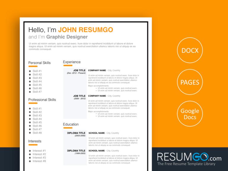 JONAS - Free Orange and Black Framed Resume Template - ResumGO