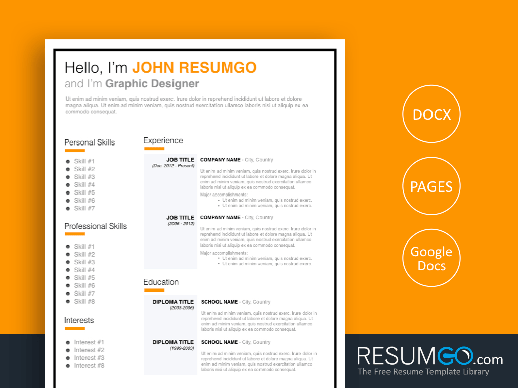 JONAS - Free Orange and Black Framed Resume Template - ResumGO