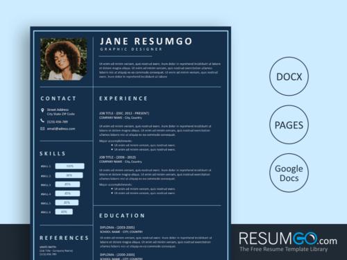KADMOS - Free Dark Blue Resume Template - ResumGO