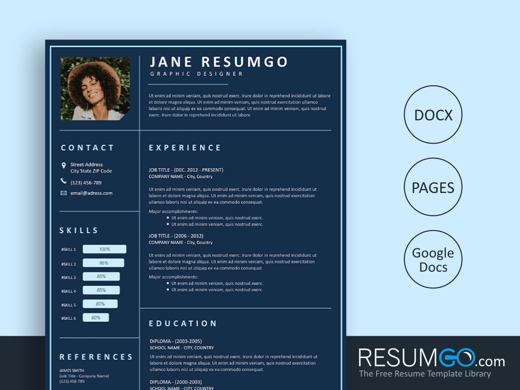 KADMOS - Free Dark Blue Resume Template - ResumGO