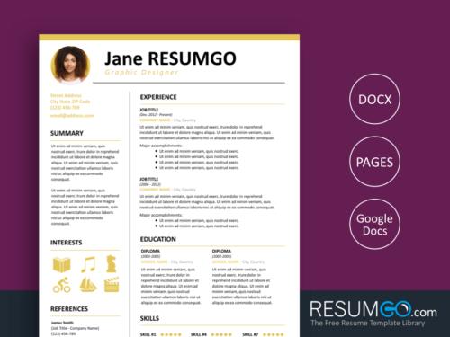 KALLIAS - Free Simple and Clean Resume Template - ResumGO