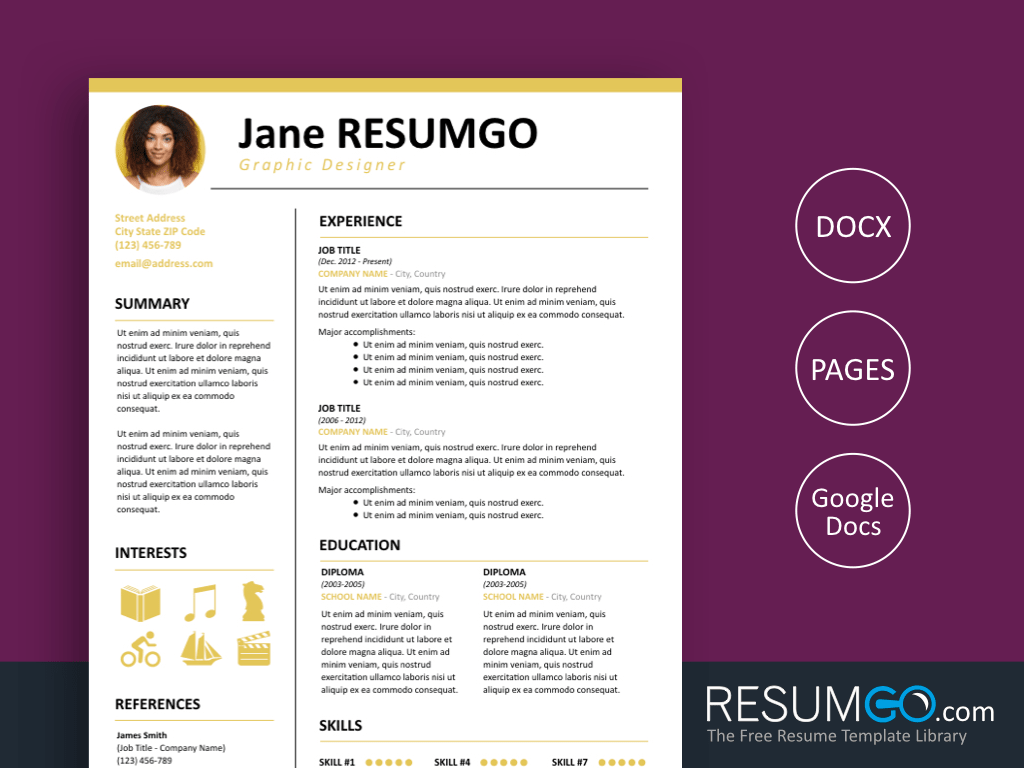 KALLIAS - Free Simple and Clean Resume Template - ResumGO