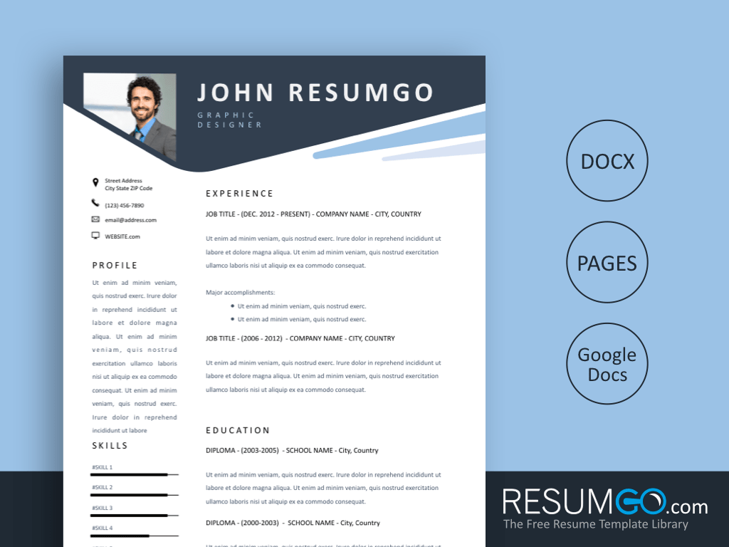 KARPOS - Free Blue Stylish Header Resume Template - ResumGO
