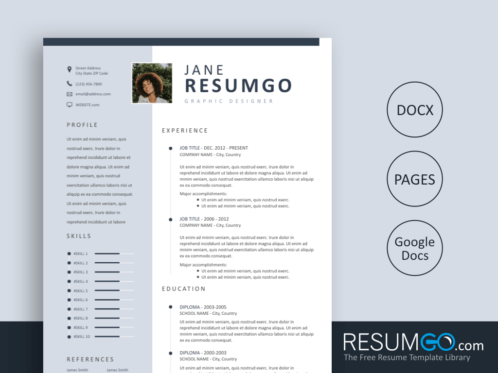 KASTOR - Free Hawkes Light Blue Sidebar Resume Template - ResumGO