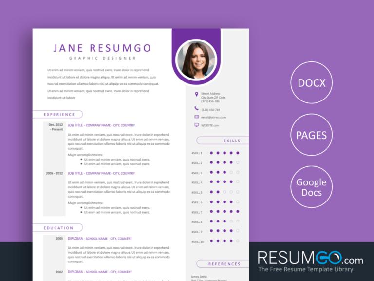 KLEIO - Free Resume Template with Purple Label - ResumGO