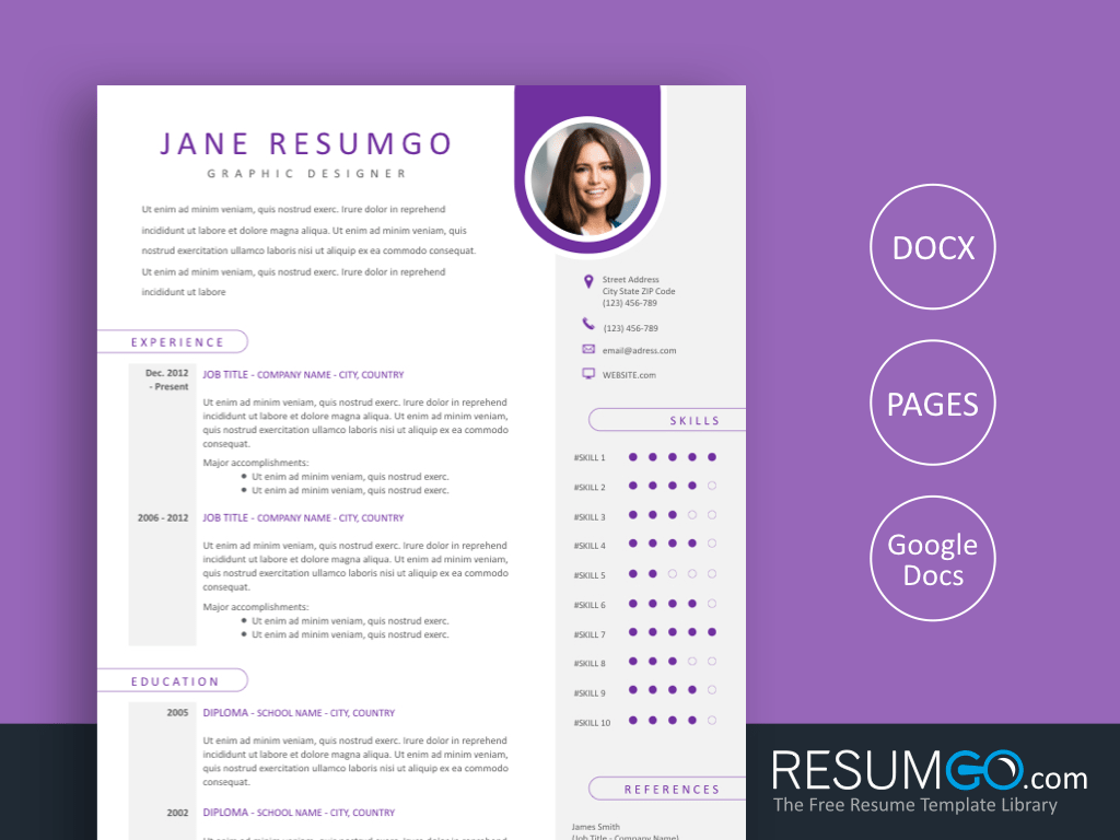 KLEIO - Free Resume Template with Purple Label - ResumGO