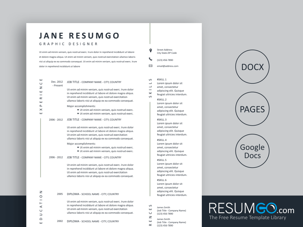 Free Simple And Professional Resume Templates Resumgo Com