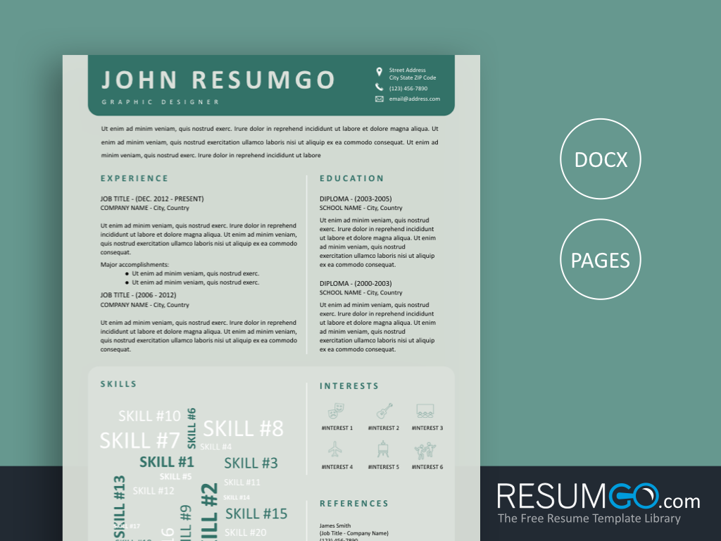 KLYTIE - Free Light Green Creative Resume Template Word Cloud - ResumGO