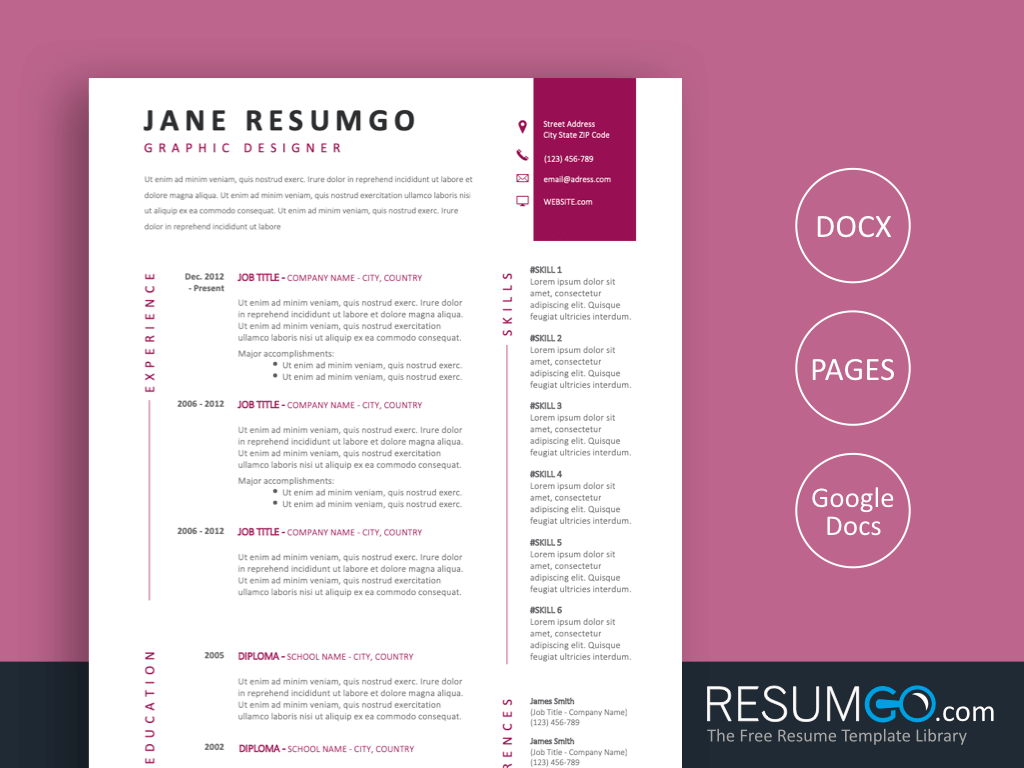 KORE - Free Purple Premium Quality Resume Template - ResumGO