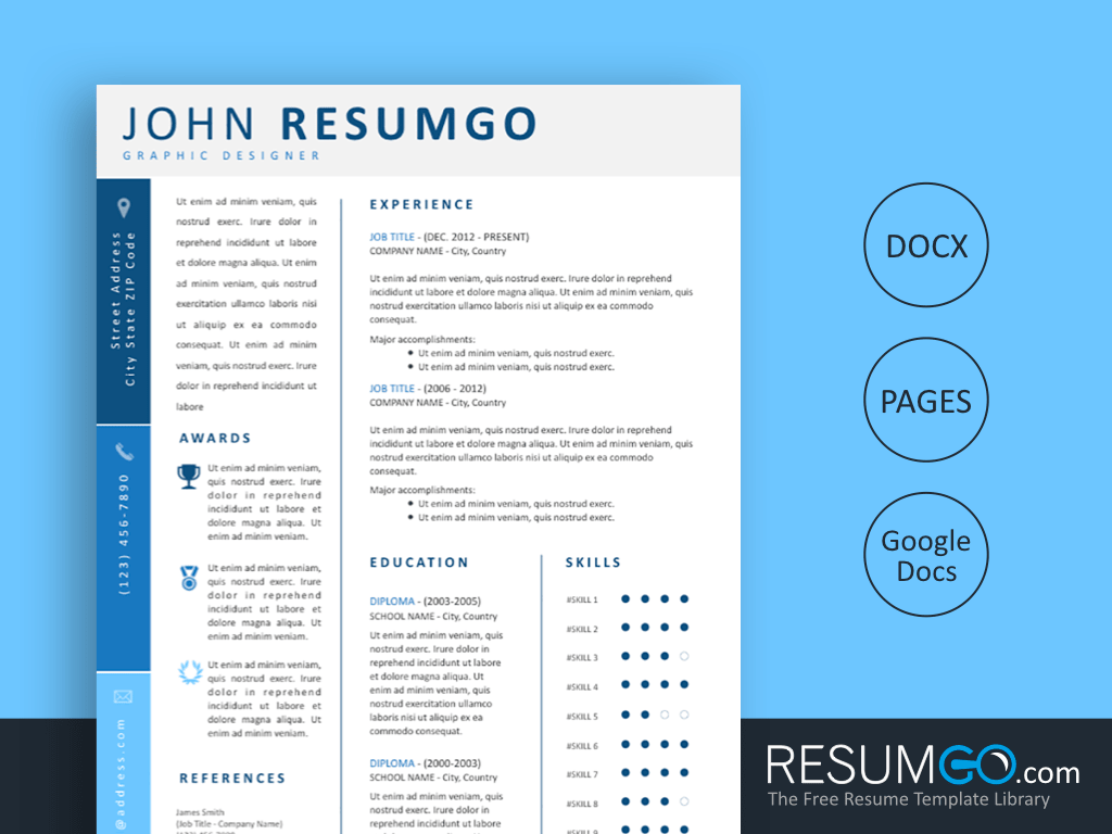 KORINNA - Free 3 Blue Grades and Modern Resume Template - ResumGO