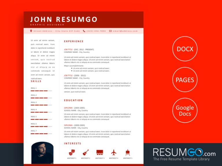 KOSMOS - Free Professional Resume Template with Red Header - ResumGO